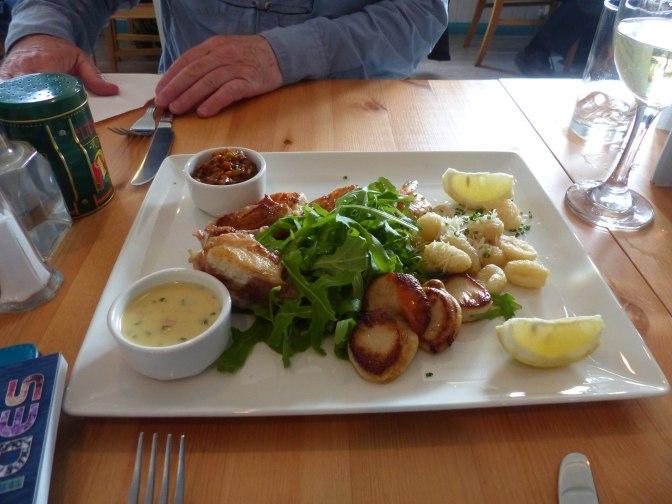 seafod platter with paremsan gnocchi